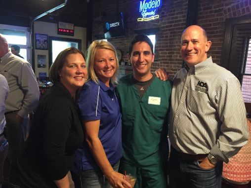Jerri Wildhaber (MDIS), Stacey Kloeppel and Paul Roberts (MDA) with Cyrus, a D4 who had NEVER missed a Food For Thought in his 4 years of dental school! He's going to be a great member!